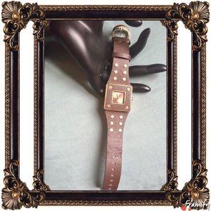 Dakota Jewelry Golden Stud Dark Brown Leather Watch